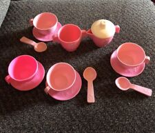 Fisher Price vintage pink fun with food set lot Cups, Spoons, Saucers+