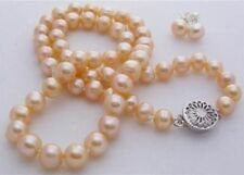 """Natural 7-8mm pink akoya cultured pearl necklace18"""" earring Jewelry Set"""