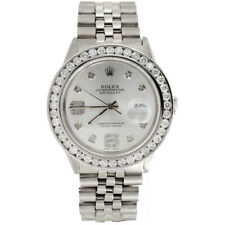 Mens Rolex 36mm DateJust Diamond Watch Jubilee Steel Band Shiny Silver Dial 4 CT