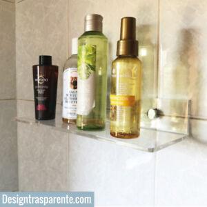 Mensola trasparente in plexiglass - design moderno per bagno e cucina --