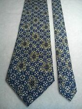 Maurio Men's Vintage Tie in a Blue White and Gold Abstract Pattern