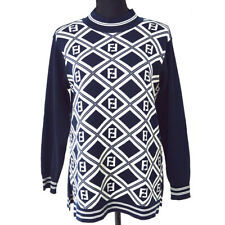 FENDI Zucca Pattern Long Sleeve High Neck Sweater Navy Authentic 04369