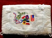 "Antique WWI Hand Embroidered Silk "" FOR THE LIBERTY "" Handkerchief HOLDER CASE"