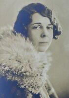 c1920 Vaudeville Roaring 20's Glamour Fashion Fur Collar Original Photo Portrait