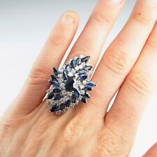 HUGE Blue Sapphire Sparkly Diamond 14K Gold Ring Cocktail Statement Engagement
