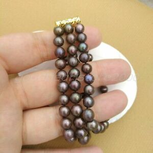 3Row Dainty South Sea Peacock Black Pearl Bracelet 7.5-8in At Business