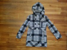 Guess Wool Blend Hooded Coat Women's Med. Plaid Full Button Front SUPER CUTE!!