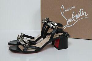New sz 7 / 37 Christian Louboutin Galerietta Studded Ankle Strap Sandal Shoes