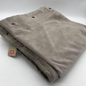 New Lavezzi Pair of Curtains 100% Cotton Velvet 220cm Small Eyelet Dove Grey