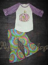 NEW Boutique Tie Dye Pumpkin Bell Pants Girls Outfit Set