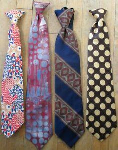 Vintage Wacky Clip-On Ties-FOUR DIFFERENT-Snapper/Wembley/Zipper-Tie/Mr. Cricket