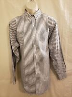 BROOKS BROTHERS MENS SLIM FIT LONG SLEEVE BUTTON SHIRT SIZE 16.5/34 BLUE WHITE