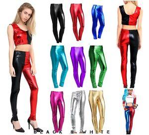 Womens Ladies American Foil Shiny leggings Disco Dance Stretch PVC Wet Look 80s