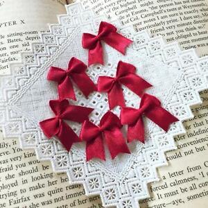 Burgundy Satin Bows Dark Red Fabric Bows Ribbon Bows Card Making Craft Bows
