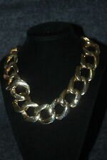 "Beautiful Large Gold Tone Chain Necklace Link 17"" X 1"" ~"
