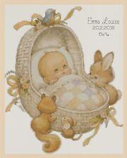 Cross stitch chart-Nuovo Bambino Nascita campionatore Cestino Bambino & CONIGLIETTI Flowerpower 37
