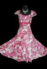 Per UNA M&S Algodón Vestido 14 Rosa Blanco Floral Midi Gitano Boho Acampanado verano en muy buena condición