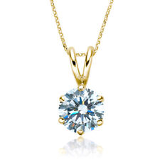 1/2ct I1/HI Natural Round Diamond 18K Yellow Gold Solitaire Pendant Necklace