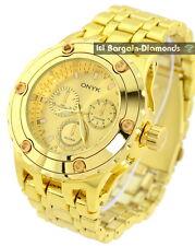 "mens big heavy gold tone business clubbing watch gold dial 8"" bracelet"