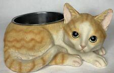 Ceramic Cat Shape Food Dish Bowl Novelty Pet Kitty Orange Tabby Silver M
