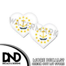 Rhode Island Flag Sticker State RI Helmet Decal Beveled Hearts 2 Pack 3 inch
