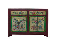 Chinese Red Yellow Green Flower Graphic Sideboard Buffet Table Cabinet cs746
