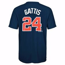 MLB Majestic Cool Base Name & Number Jersey T-shirt Collection Youth Size (8-20) Atlanta Braves Evan Gattis Navy Blue Boy8 S