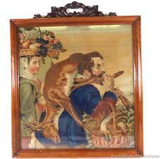 Antiguo Palo De Rosa Enmarcado woolwork Bordado De Hunter Y Frutas De Colección
