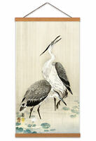 Ohara Koson Two Herons In The Rain Canvas Wall Art Print Poster with Hanger