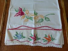 New listing Lot Of 2 Vintage Hand Embroidered Cross Stitch Floral Pillow Cases