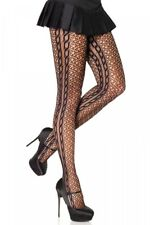 Leg Avenue Swirl Net Tights Pantyhose Braided Side Seam UK 6 - 12