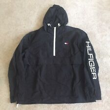 NWOT Tommy Hilfiger Mens Black Lightweight 1/2 Zip Hooded...