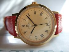 Women's Titan Classic Gold Plated SPORT 839YAB Watch! Gold Dial! RED Strap!