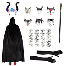 Girls Witch Halloween Gothic Horns Cape Headband Staff Tattoos Jewels & Gloves