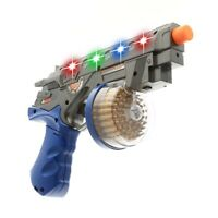 Space Enforcer Toy Gun Blaster With Vibrant Spinning Lights and Sound - Silver