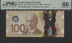 TT PK BC-73a 2011 CANADA BANK OF CANADA 100 DOLLARS PMG 66 EPQ GEM UNCIRCULATED!