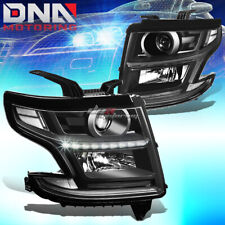 FOR 2015-2020 SUBURBAN/TAHOE [LED DRL] BLACK HOUSING PROJECTOR CLEAR HEADLIGHT