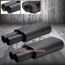 2x JDM 2.55 Inlet 3.00 Black Coat Dual Tip Stainless T304 Oval Exhaust Muffler