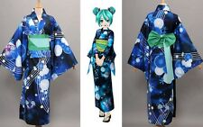 Yukata Kimono Miku Vocaloid Hatsune Miku Cosplay Damen Kostüme *Maßgeschneidert*