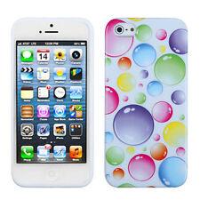 Apple iPhone 5 5S SE TPU CANDY Gel Flexi Skin Case Phone Cover Rainbow Bubbles