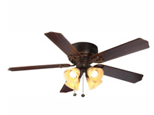 LED Indoor Iron Ceiling Fan 52 in.W/ Light Kit Reversible Blades Flush Mount 5.0