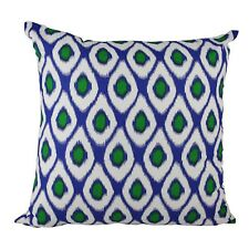 One Duck Two Ikat Cobalt/Green cotton cushion cover royal blue and emerald green