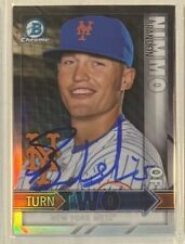 2016 BOWMAN CHROME BRANDON NIMMO AMED ROSARIO TURN TWO SIGNED AUTO DUAL METS