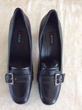 NIB ECCO Women's Shoes 41 EU Black Leather Buckle Strap Heels Classic Nice!