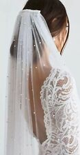 Bridal Pearl Light Ivory Cathedral Veil 1 Tier Luxury Soft Tulle Cut Edge & Comb