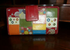 Fossil Women's Multicolor Patchwork Design Leather Wallet EUC ID Holder Cards ++
