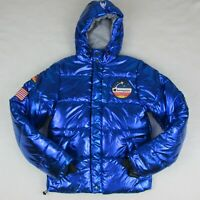 Champion Metallic Blue Nasa Men's Puffer Jacket Space Logo Limited Edition New
