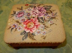Antique Mahogany Footstool With Tapestry Top & Turned Feet  (A)