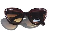 Lunette de soleil brun monture papillon ornement en strass +Pochette à lunette.
