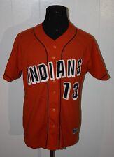 Vintage Powers Custom Orange Indians Mesh Sewn Baseball Jersey 42
